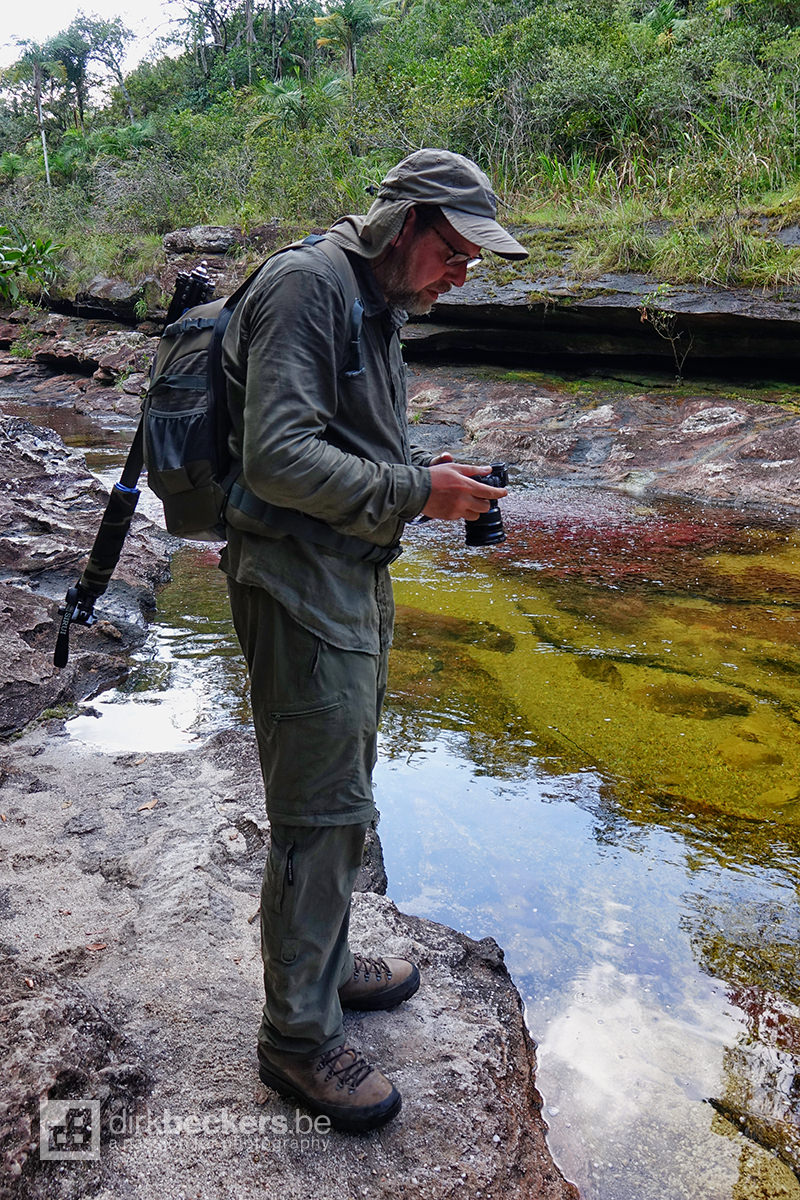 Checking the camera at Caño Cristales in La Macarena, Meta in Colombia.