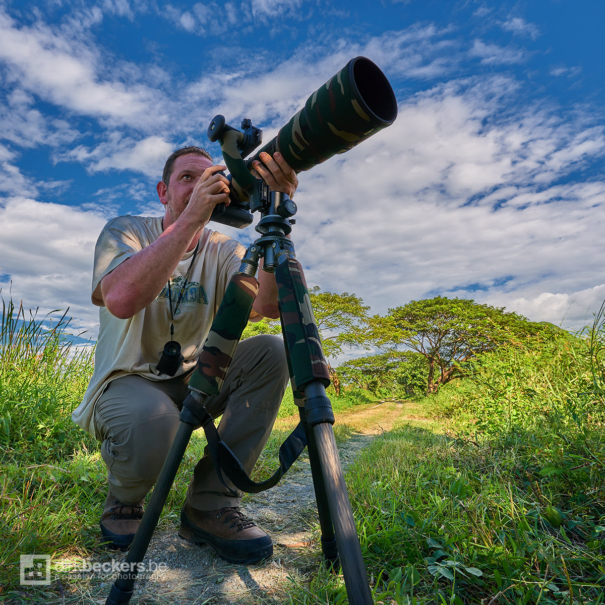 Ready to shoot wildlife at Palo Verde National Park in Guanacaste, Costa Rica.