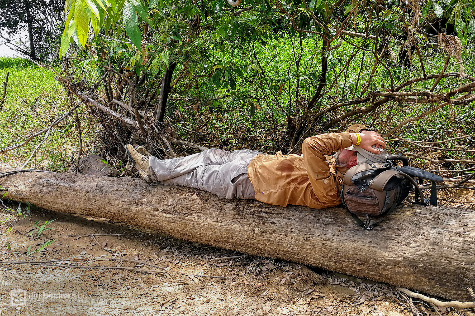 Taking a nap after lunch before we continue the search for birds at the banks of the Guayabero river in Meta, Colombia.